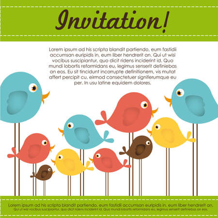 Invitation card with colorful birds, vector illustration Vector