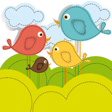 cute clipart: Color illustrations of birds on mountains and clouds, vector illustration Illustration