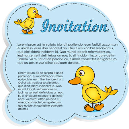 rubber duck: Invitation Card blue with yellow ducks, Vector Illustration