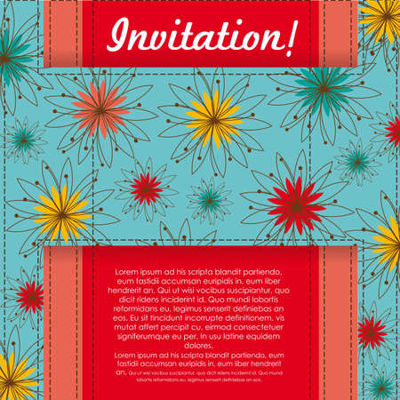 Invitation card with colorful flowers, vector illustration  Vector