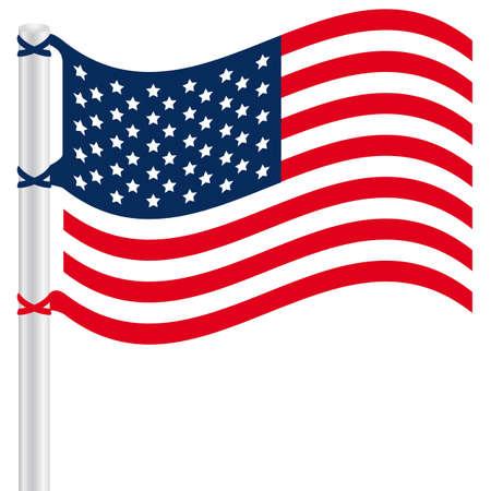 bandera estados unidos: Bandera de los Estados Unidos en un poste, ilustración vectorial