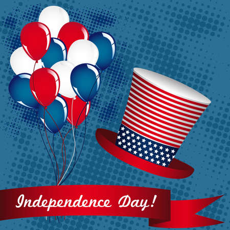 Illustration of the day of United States independence, July 4 Vector