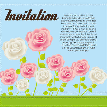 Invitation card with colorful roses, vector illustration Stock Vector - 14239837
