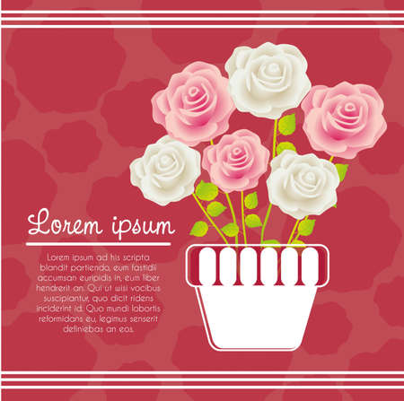 Invitation card with colorful roses, vector illustration Vector