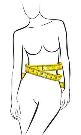 naked female body: Measures in perfect female body isolated on white background, vector illustration