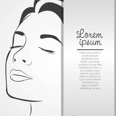 Silhouette linee del volto della donna, isolato su sfondo bianco, illustrazione vettoriale