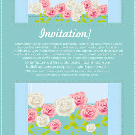 Invitation card with colorful roses, vector illustration Stock Vector - 14239859