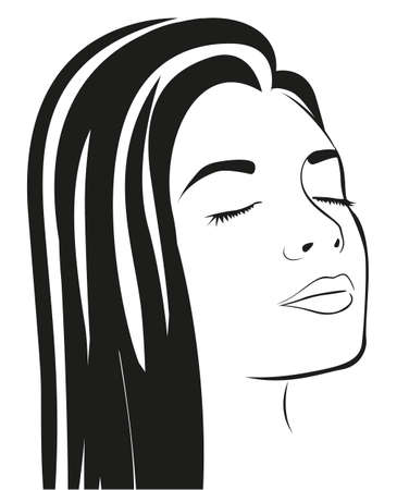 wavy hair: Silhouette lines of the womans face, isolated on white background, vector illustration Illustration