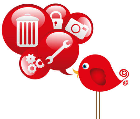 red bird with cloud icons communications, vector illustration Vector
