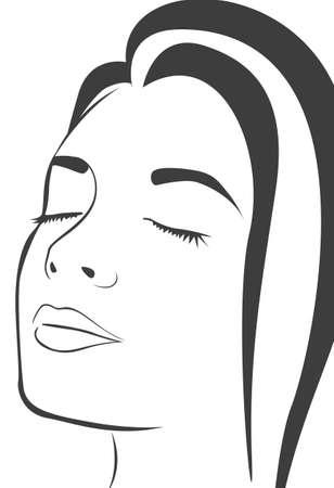 Las líneas de la silueta de la cara de la mujer, aislados en fondo blanco, ilustración vectorial