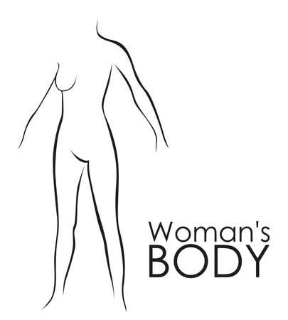 naked girl: Line silhouette of a woman, isolated on white background, vector illustration Illustration