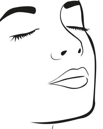 rosto: Linhas da silhueta do rosto da mulher, isolado no fundo branco, ilustra