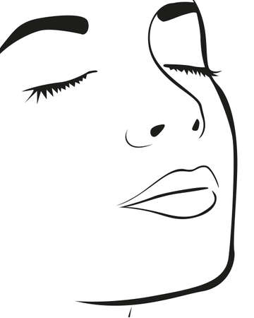 Silhouette lines of the womans face, isolated on white background, vector illustration Ilustração