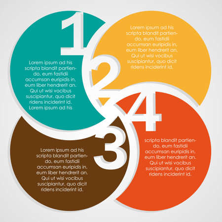 number one: Numbering in colored circles, step by step. vector illustration