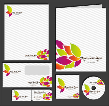 name card: Set of material corporate image. contains, on, letterhead, folders, business card , cd label, vector illustration