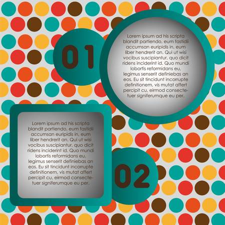 numbering: Numbering in colored squares and circles, step by step. vector illustration Illustration