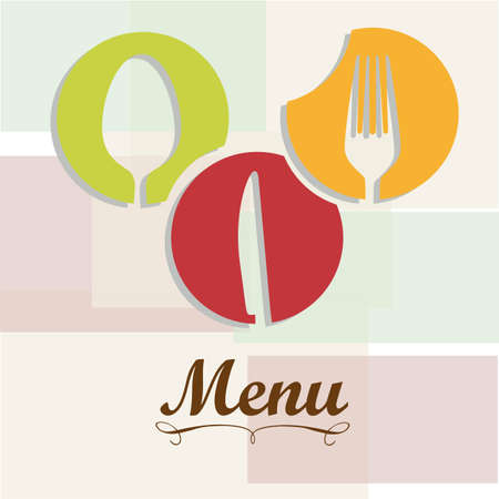 Elegant card for restaurant menu, with spoon, knife and fork vector illustration Stock Vector - 14345192