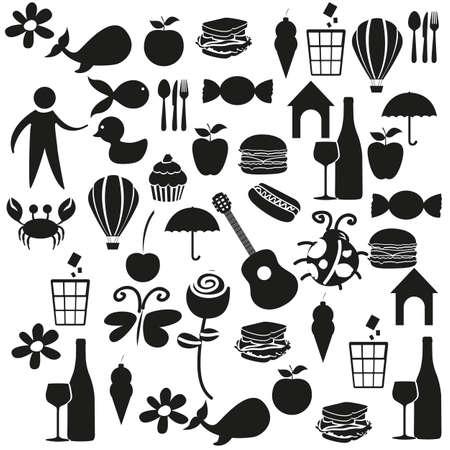 Stel zwarte kleur pictogrammen op witte achtergrond, vector illustratie