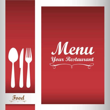 Elegant card for restaurant menu, with spoon, knife and fork vector illustration Vector