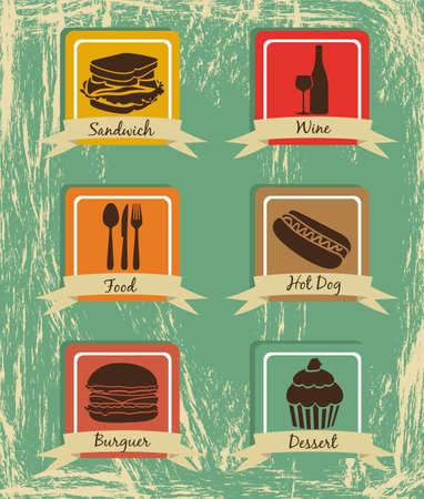 Food icons on vintage background with ribbons, vector illustration Vector