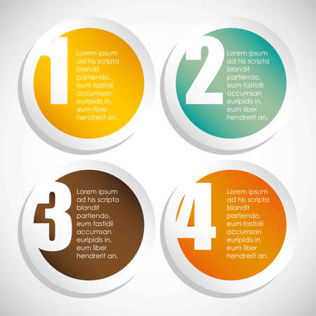 numbering: Numbering in colored circles, step by step. vector illustration