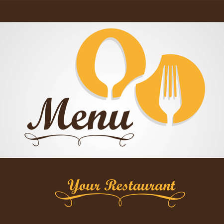 gorro chef: Tarjeta elegante de men� de un restaurante, con ilustraci�n vectorial cuchara, cuchillo y tenedor