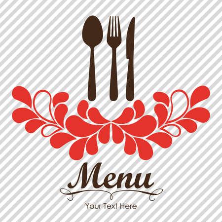 cuchara y tenedor: Tarjeta elegante de men� de un restaurante, con ilustraci�n vectorial cuchara, cuchillo y tenedor