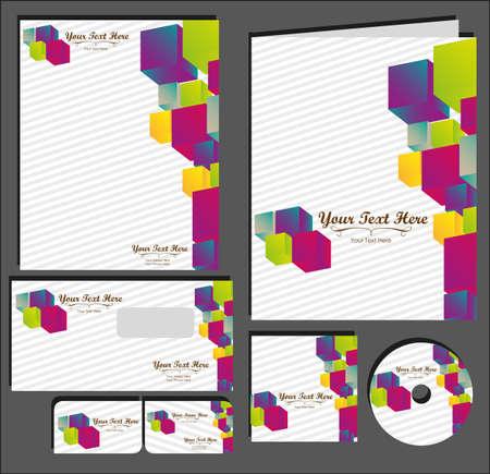 imagen corporativa: Ajuste de la imagen material corporativo. contiene, en, papel con membrete, carpetas, tarjetas de visita, etiquetas de CD, ilustraci�n vectorial