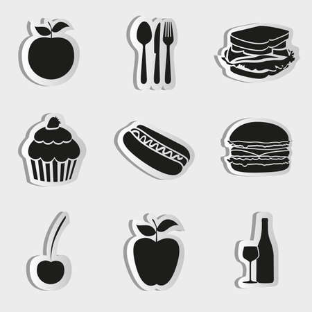 Food icons isolate on white background, vector illustration