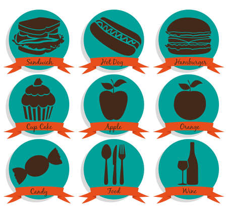 iconography: FFood icons on vintage background with ribbons, vector illustration Illustration