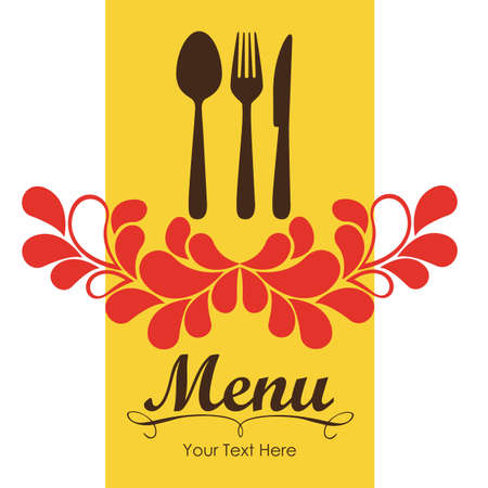 Elegant card for restaurant menu, with spoon, knife and fork vector illustration Stock Vector - 14345202