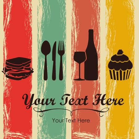 shots alcohol: Elegant card for restaurant menu, with spoon, knife, fork, sandwich, dessert, and wine vector illustration