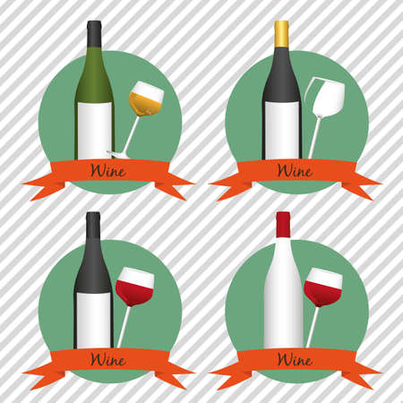 Wine icons on lines background with ribbons, vector illustration Vector