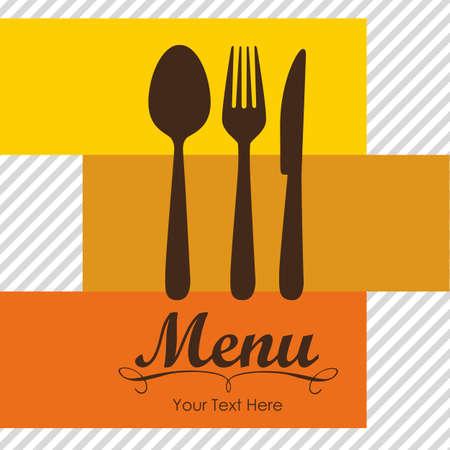 menu card design: Elegant card for restaurant menu, with spoon, knife and fork vector illustration Illustration