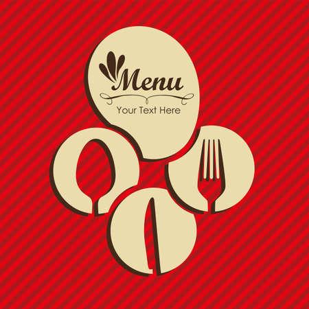 carta de postres: Tarjeta elegante del men� del restaurante, con ilustraci�n vectorial cuchara, cuchillo y tenedor Vectores