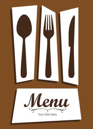 meny: Eleganta kort för restaurangmeny, med sked, kniv och gaffel vektor illustration