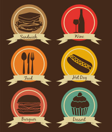 candy apple: Food icons on vintage background with ribbons, vector illustration Illustration