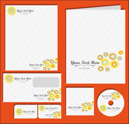 cd label: Set of material corporate image. contains, on, letterhead, folders, business card , cd label, vector illustration
