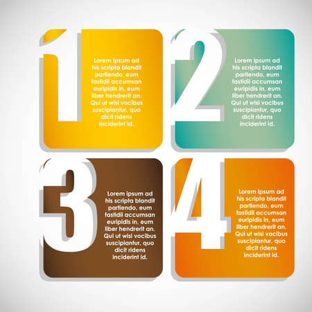 numbering: Numbering in colored squares, step by step. vector illustration Illustration