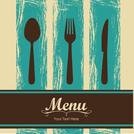 salads: Elegant card for restaurant menu, with spoon, knife and fork vector illustration Illustration