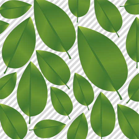 Green leaves on a background of gray lines, vector illustration Stock Vector - 14345184