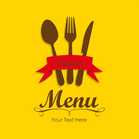 Elegant card for restaurant menu, with spoon, knife and fork vector illustration Stock Vector - 14345172