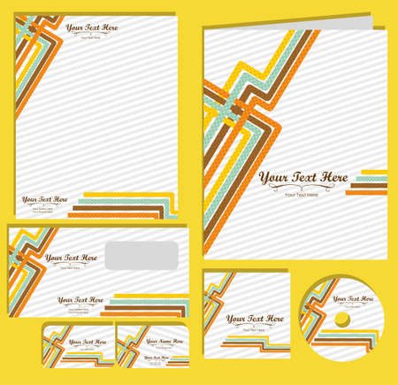 Set of material corporate image. contains, on, letterhead, folders, business card , cd label, vector illustration