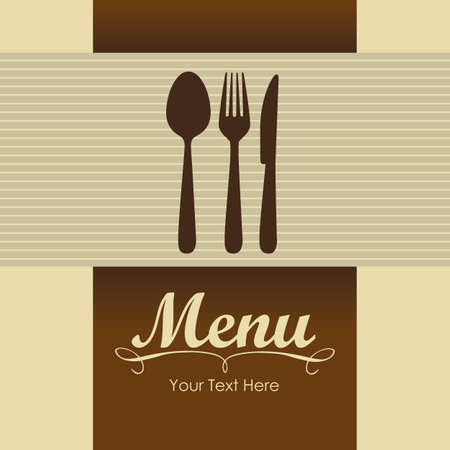 Elegant card for restaurant menu, with spoon, knife and fork vector illustration Stock Vector - 14342617