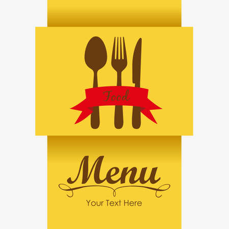 Elegant card for restaurant menu, with spoon, knife and fork vector illustration Stock Vector - 14345178