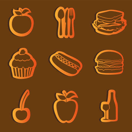 sets food glossy icons, vector illustration Vector