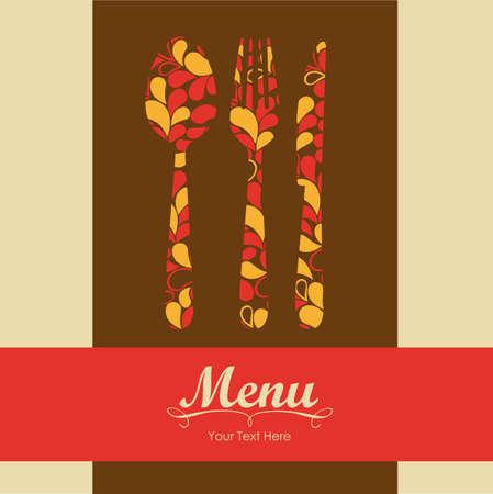 dessert fork: Elegant card for restaurant menu, with spoon, knife and fork vector illustration Illustration