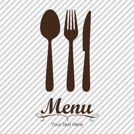 fork: Elegant card for restaurant menu, with spoon, knife and fork vector illustration Illustration