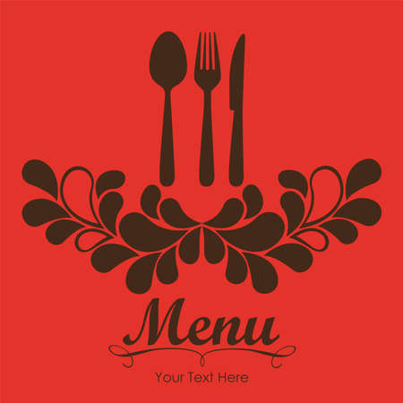 Elegant card for restaurant menu, with spoon, knife and fork vector illustration Stock Vector - 14345175