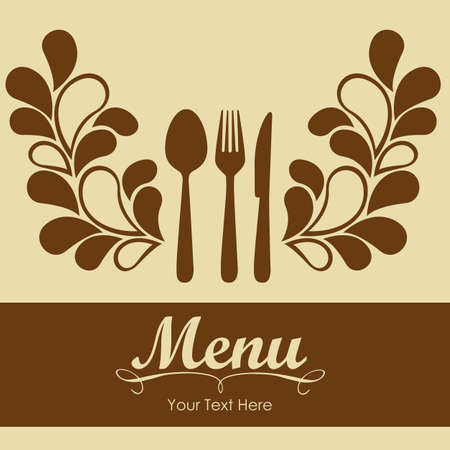 rt: Elegant card for restaurant menu, with spoon, knife and fork vector illustration Illustration